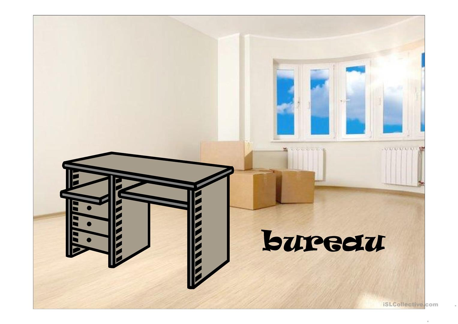 bureau fiche d 39 exercices free esl projectable worksheets made by teachers. Black Bedroom Furniture Sets. Home Design Ideas