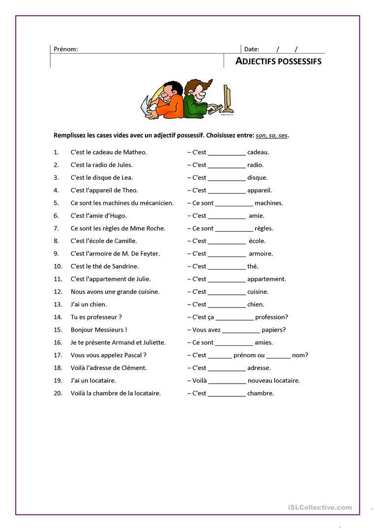ADJECTIFS POSSESSIFS fiche d'exercices - Fiches ...