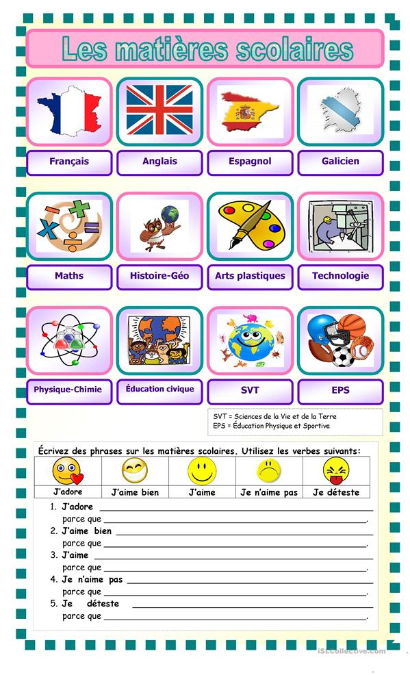All Worksheets printable comprehension worksheets : Les matiu00e8res scolaires fiche du0026#39;exercices - Fiches ...
