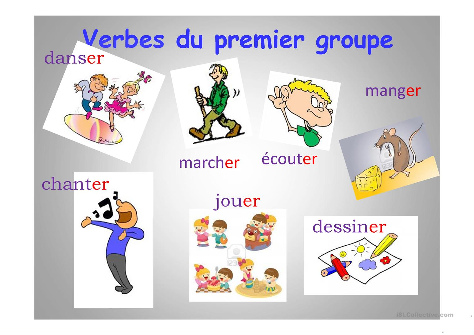 Verbes du premier groupe fiche d'exercices - Free ESL projectable worksheets made by teachers