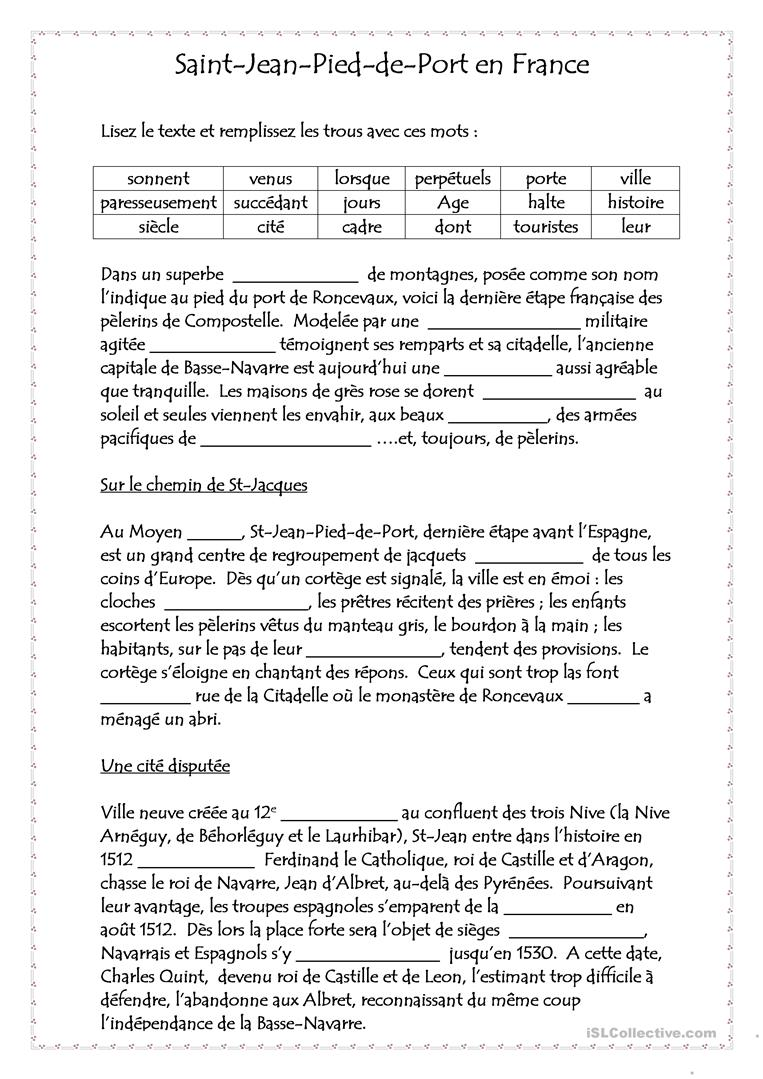 COMPREHENSION ECRITE :texte à trous fiche d'exercices ...