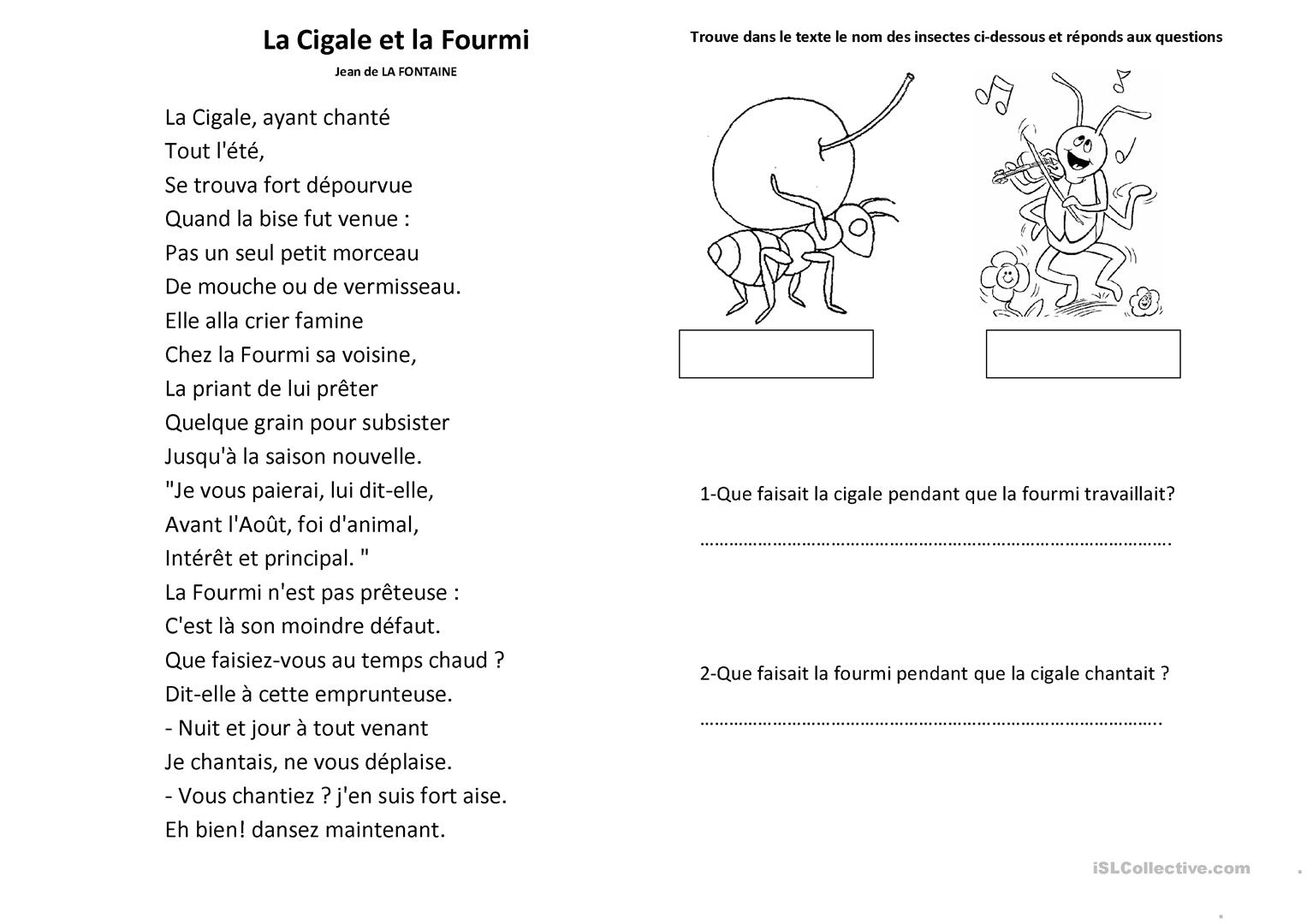 La cigale et la fourmi comprehension fiche d 39 exercices - La cigale et la fourmi a imprimer ...